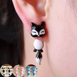 SALE!! 3D Fox Earrings Black/White, Adorable!!